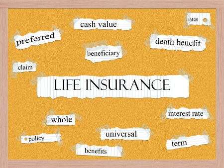 Life Insurance Corkboard Word Concept with great terms such as beneficiary, rates, term and more.