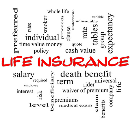 premiums: Life Insurance Word Cloud Concept on a Blackboard with great terms such as term, whole life, rider, quote and more.