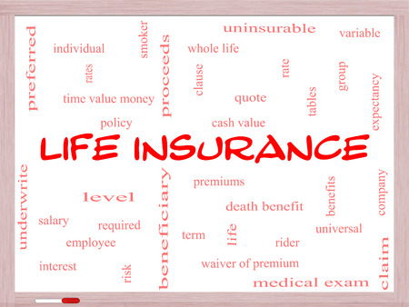 variable rate: Life Insurance Word Cloud Concept on a Whiteboard with great terms such as term, whole life, rider, quote and more. Stock Photo