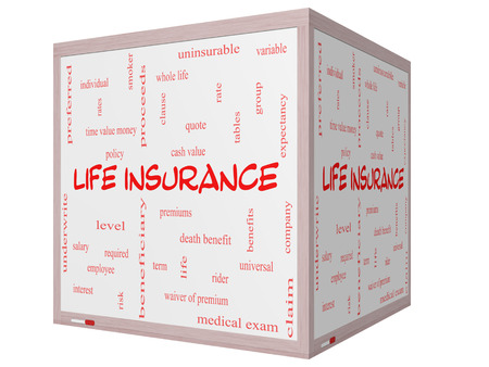 premiums: Life Insurance Word Cloud Concept on a 3D Cube Whiteboard with great terms such as term, whole life, rider, quote and more. Stock Photo