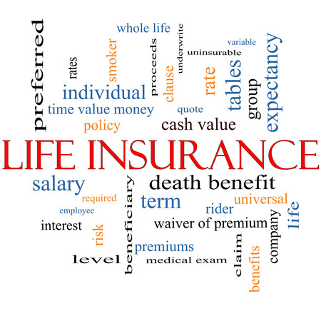premiums: Life Insurance Word Cloud Concept with great terms such as term, whole life, rider, quote and more. Stock Photo