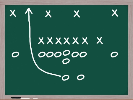 denote: Football Play on a Chalkboard with diagrams of Xs and Os to denote players.