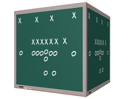 denote: Football Play on a 3D Cube Chalkboard with diagrams of Xs and Os to denote players. Stock Photo