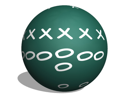 denote: Football Play on a 3D Sphere Chalkboard with diagrams of Xs and Os to denote players.