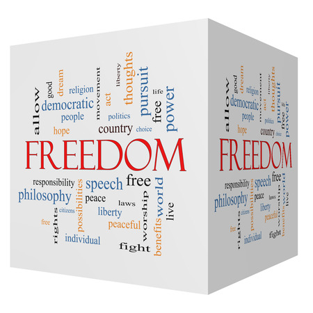 Freedom 3D Cube Word Cloud Concept with great terms such as free, life, hope, peaceful and more. photo