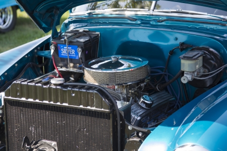 WAUPACA, WI - AUGUST 24:  Engine of 1952 Blue Chevy Delivery Sedan at Waupaca Rod and Classic Annual Car Show August 24, 2013 in Waupaca, Wisconsin.