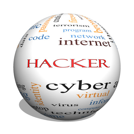 Hacker 3D Sphere Word Cloud Concept with great terms such as firewall, cyber, attack, crime and more. photo