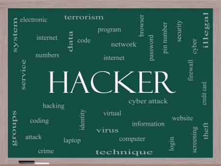 cyber terrorism: Hacker Word Cloud Concept on a Blackboard with great terms such as firewall, cyber, attack, crime and more.