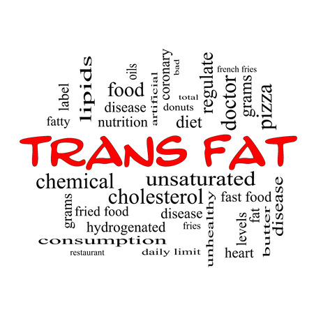 grams: Trans Fat Word Cloud Concept in red caps with great terms such as grams, diet, unsaturated and more.