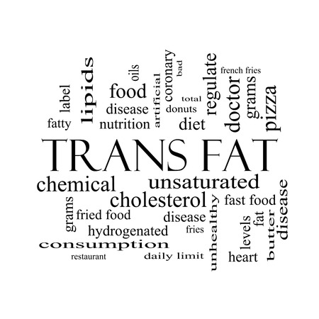 grams: Trans Fat Word Cloud Concept in black and white with great terms such as grams, diet, unsaturated and more. Stock Photo