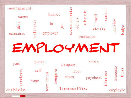 Employment Word Cloud Concept on a Whiteboard with great terms such as work, company, boss, job and more.