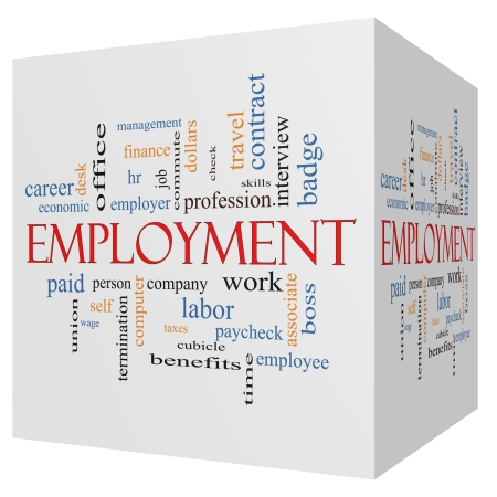 termination: Employment 3D Cube Word Cloud Concept with great terms such as work, company, boss, job and more.