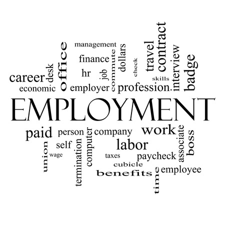 Employment Word Cloud Concept in black and white with great terms such as work, company, boss, job and more. Stock Photo