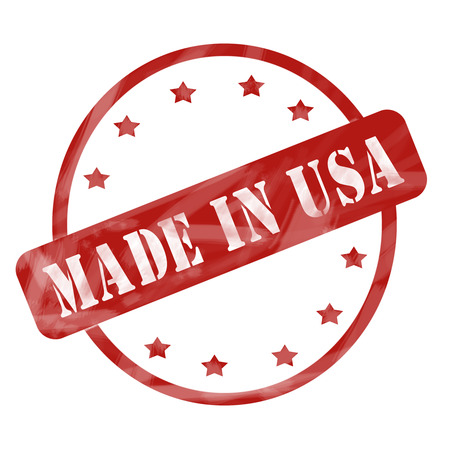 A red ink weathered roughed up circle and stars stamp design with the words MADE IN USA on it making a great concept.