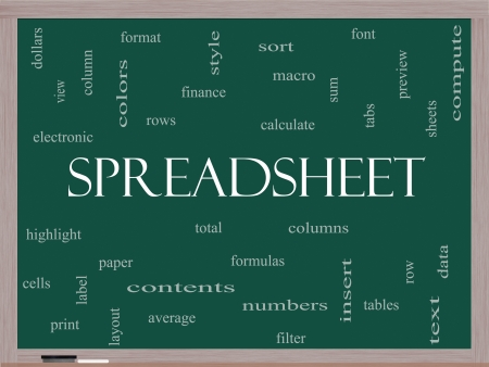 Spreadsheet Word Cloud Concept on a Blackboard with great terms such as rows, columns, formula, cell and more. photo