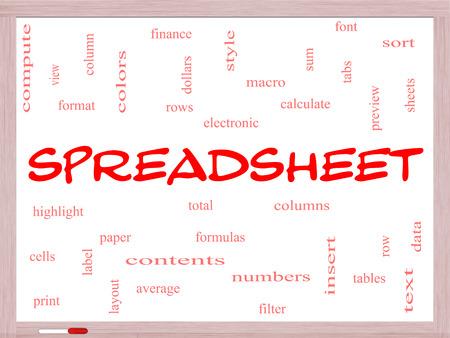 スプレッドシートの行、列、数式、セルなどの偉大な条件でのホワイト ボードに単語クラウドのコンセプト。 写真素材
