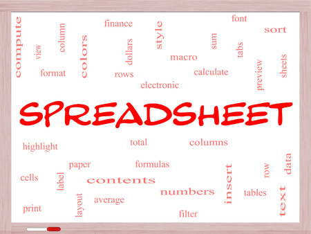 Spreadsheet Word Cloud Concept on a Whiteboard with great terms such as rows, columns, formula, cell and more. photo
