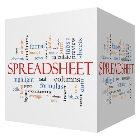スプレッドシート 3 D キューブ単語雲概念と、行、列、数式、セルなど偉大な条件で。