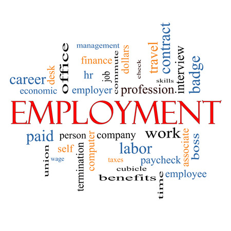 Employment Word Cloud Concept with great terms such as work, company, boss, job and more. Zdjęcie Seryjne