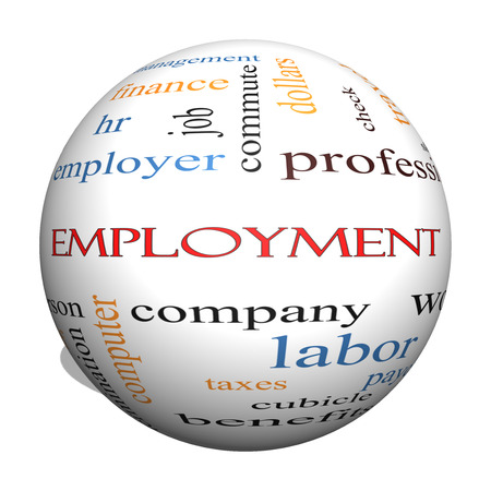 Employment 3D Sphere Word Cloud Concept with great terms such as work, company, boss, job and more.