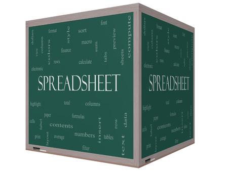 スプレッドシート単語雲概念を行、列、数式、セルなど偉大な条件で 3 D のキューブ黒板。