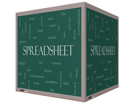 Spreadsheet Word Cloud Concept on a 3D Cube Blackboard with great terms such as rows, columns, formula, cell and more. photo