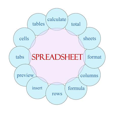 ピンクのスプレッドシート概念円形図と偉大な青など計算の合計を形式、行、詳細を用語します。