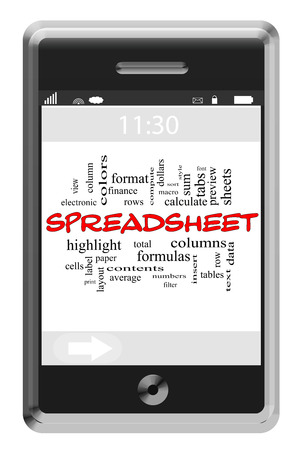 Spreadsheet Word Cloud Concept of Touchscreen Phone with great terms such as rows, columns, data and more. photo