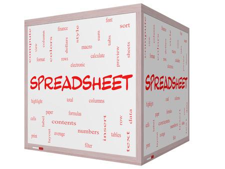 スプレッドシート偉大な条件を行、列、数式、セルなどの 3 D キューブのホワイト ボードに単語のクラウドのコンセプト。 写真素材