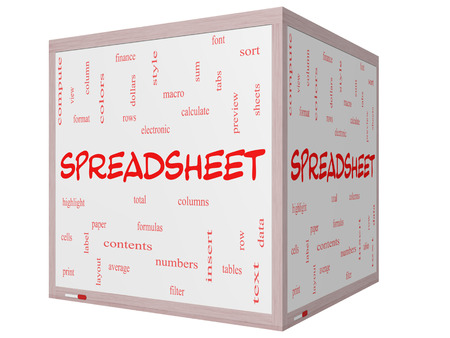 Spreadsheet Word Cloud Concept on a 3D Cube Whiteboard with great terms such as rows, columns, formula, cell and more.