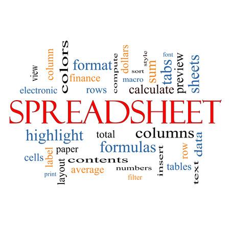 スプレッドシートの行、列、数式、セルなど偉大な条件で単語クラウドのコンセプト。