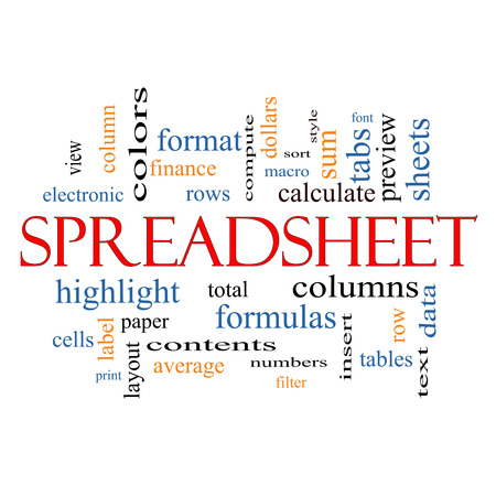 spreadsheets: Spreadsheet Word Cloud Concept with great terms such as rows, columns, formula, cell and more.
