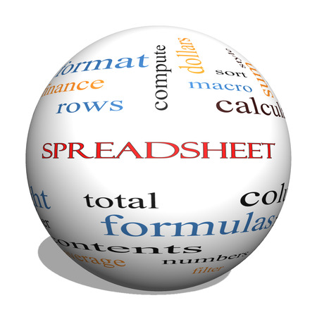 Spreadsheet 3D Sphere Word Cloud Concept with great terms such as rows, columns, formula, cell and more. photo