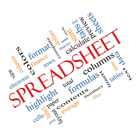 Spreadsheet Word Cloud Concept Angled with great terms such as rows, columns, formula, cell and more. photo