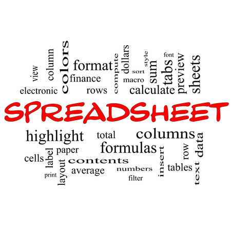 Spreadsheet Word Cloud Concept in red caps with great terms such as rows, columns, formula, cell and more. photo