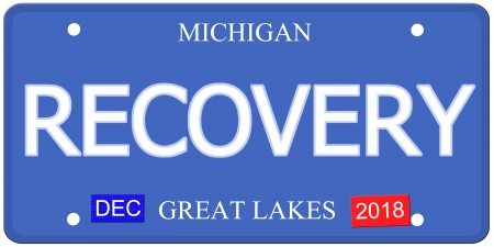 Imitation Michigain License Plate with the word RECOVERY and Great Lakes Dec 2018 making a great concept.