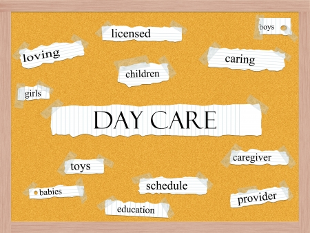 Day Care Corkboard Word Concept with great terms such as caring, boys, girls, provider and more. Stock Photo - 24896364
