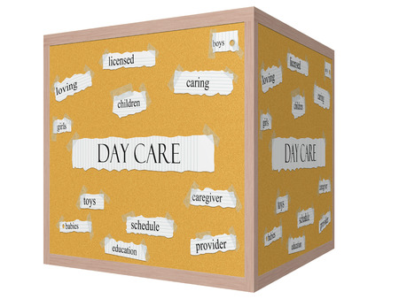 Day Care 3D Cube Corkboard Word Concept with great terms such as caring, boys, girls, provider and more. Stock Photo - 24896366