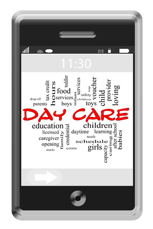 care providers: Day Care Word Cloud Concept of Touchscreen Phone with great terms such as caregiver, children, provider and more.