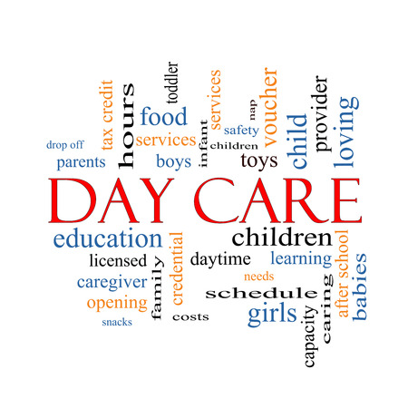 care providers: Day Care Word Cloud Concept with great terms such as children, costs, provider, safety and more.