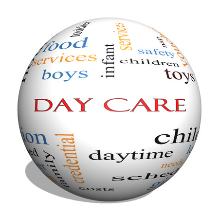 care providers: Day Care 3D Sphere Word Cloud Concept with great terms such as children, costs, provider, safety and more. Stock Photo