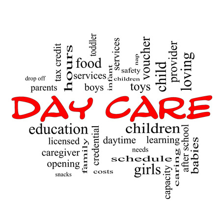 care providers: Day Care Word Cloud Concept red caps with great terms such as children, costs, provider, safety and more.