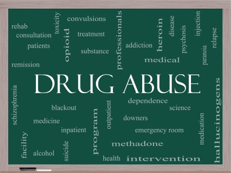 opioid: Drug Abuse Word Cloud Concept on a Blackboard with great terms such as addiction, heroin, disease, relapse and more.