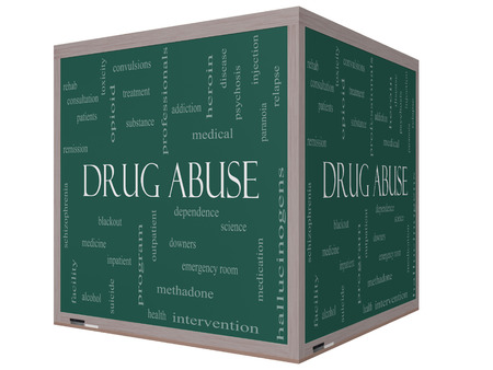 relapse: Drug Abuse Word Cloud Concept on a 3D Cube Blackboard with great terms such as addiction, heroin, disease, relapse and more. Stock Photo