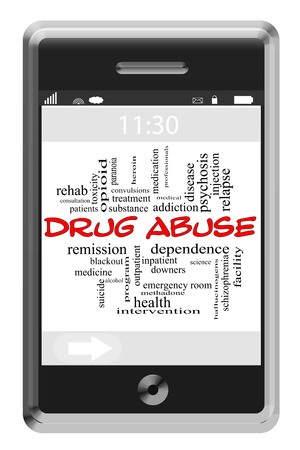 convulsions: Drug Abuse Word Cloud Concept of Touchscreen Phone with great terms such as addiction, heroin, meth and more.