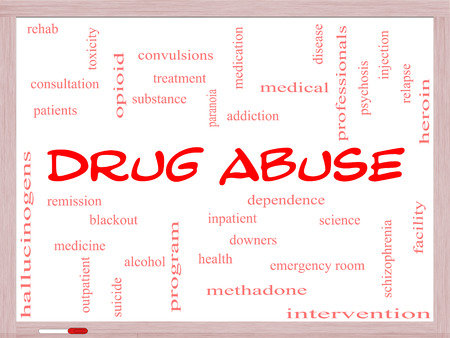 convulsions: Drug Abuse Word Cloud Concept on a Whiteboard with great terms such as addiction, heroin, disease, relapse and more.