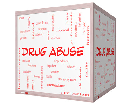 health professionals: Drug Abuse Word Cloud Concept on a 3D Cube Whiteboard with great terms such as addiction, heroin, disease, relapse and more. Stock Photo