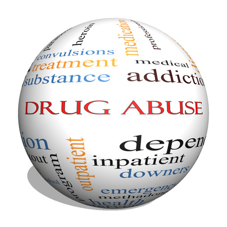 convulsions: Drug Abuse 3D Sphere Word Cloud Concept with great terms such as addiction, heroin, disease, relapse and more.