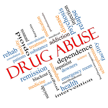 relapse: Drug Abuse Word Cloud Concept Angled with great terms such as addiction, heroin, disease, relapse and more.