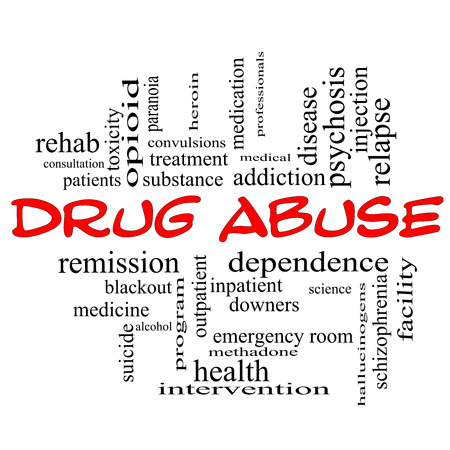 Drug Abuse Word Cloud Concept in red caps with great terms such as addiction, heroin, disease, relapse and more.